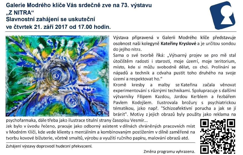 Pozvánka na výstavu do Galerie Modrého klíče