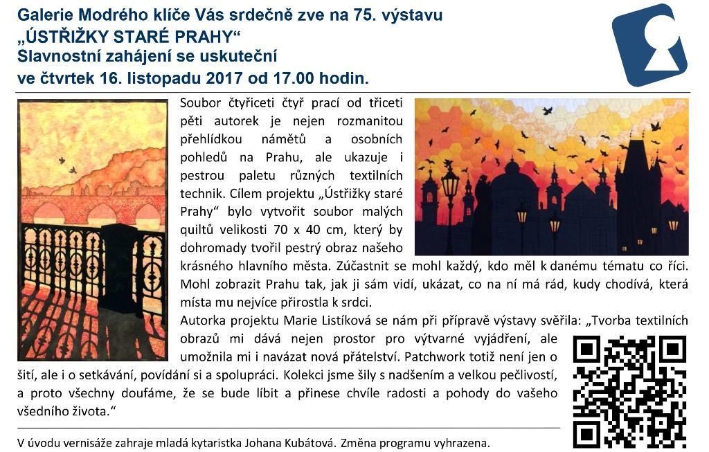 """Pozvánka na vernisáž výstavy """"Ústřižky staré Prahy"""""""