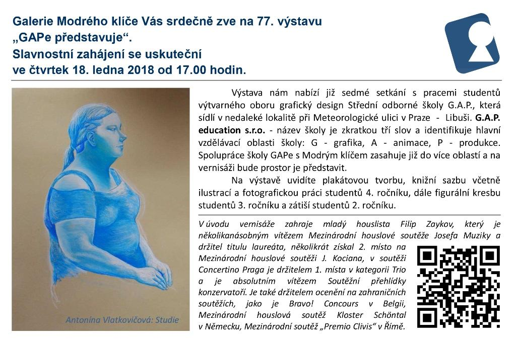 Pozvánka na výstavu prací studentů umělecké školy G.A.P.