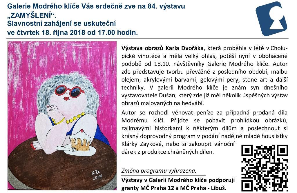 """""""ZAMYŠLENÍ"""" pozvánka na prodejní výstavu obrazů do Galerie Modrého klíče"""