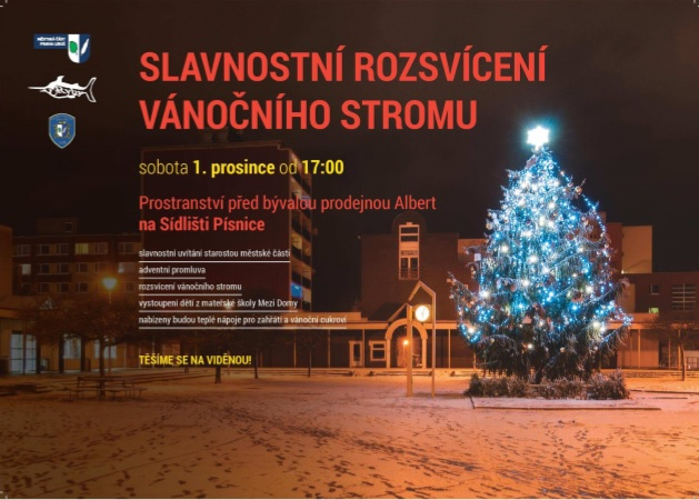 Rozsvěcení vánočního stromu-podpora veřejné sbírky pro Modrý klíč