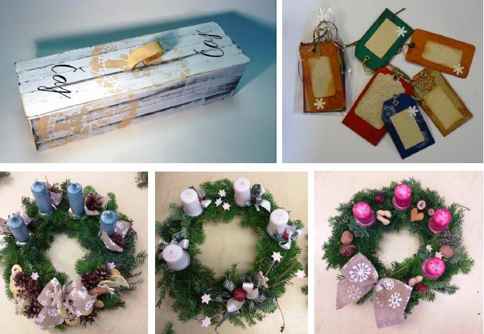 Nabídka výrobků a vánočních dekorací z Modrého klíče
